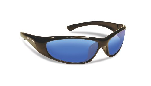 Flying Fisherman Fluke Jr. Angler Polarized Sunglasses (Shiny Black Frame, Smoke/Blue Mirror - Angler Sunglasses
