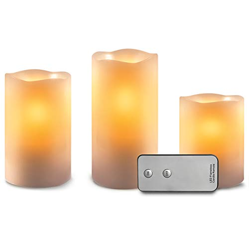 (Apothecary 3-Piece Flickering LED Candle Set with Wireless Remote, Flameless Candles, Real Wax with No Mess, Battery Powered, Ambient Lights That Dance and Flicker for a Natural Look, Tiered Pillars)