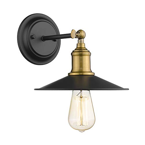 Jazava Indoor Industrial 1-Light Wall Sconces,Adjustable Swing Arm Wall Lamp, Semi Flush Mount Pendant Ceiling Light Fixture for Farmhouse,Antique Bronze Metal Lamp Shade,JAWLH0001BG1W (1 Pack)