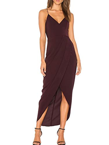 Cocktail Party Dress - cmz2005 Women's Sexy V Neck Backless Maxi Dress Sleeveless Spaghetti Straps Cocktail Party Dresses 71729 (XL, Wine Red)