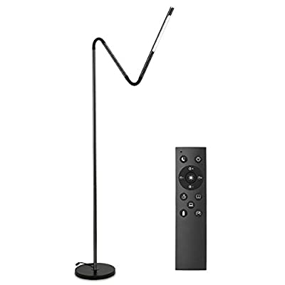 LE Dimmable LED Floor Lamps, Gooseneck Adjustable Reading Lamp, 6W, 6 Lighting Modes, Memory Function, Remote Control, Touch Control Standing Lamp for Living Room, Office, Hotel and More, Black - Flexible Adjustable: The floor lamp with the gooseneck design which could allow you to adjust the height and angles you want in any position. Please noted that the The gooseneck has its adjustable range and once it exceeds the limit it may rebound to the origin. 6 Lighting Modes: You could customize your personal settings via the remote controller. There are 5 relax lighting modes and 1 night lighting mode available, and each mode can be stepless dimming for the most suitable light. With memory function, but it must be ensured that there is no power off or unplug the switch. Easy Operation: The floor lamp has a very simple structure, very easy and fast to install and assemble. The top of the lamp has a touch switch, touch it to turn on the light or to switch the light modes, touch it twice to turn off the light. Its life is much longer than mechanical switch, the more humanized design makes the operation more convenient. - living-room-decor, living-room, floor-lamps - 31Deqr6%2B8NL. SS400  -