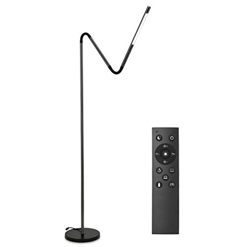 LE Dimmable Gooseneck Floor Lamps, LED Reading Lamps, 6W, 500 Lumens, 6 Lighting Modes, Memory Function, Standing Floor Light with Remote Control Fits for Living Room Bedroom Office Hotel, Black
