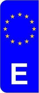 Bandera de España E UE Euro matrícula del coche Domed adhesivo (2 unidades): Amazon.es: Coche y moto