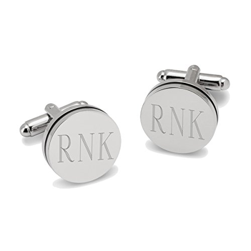Monogrammed Round Cufflinks with Black Trim - Personalized Cufflinks - Engraved Cufflinks (Cufflinks Personalized Round)