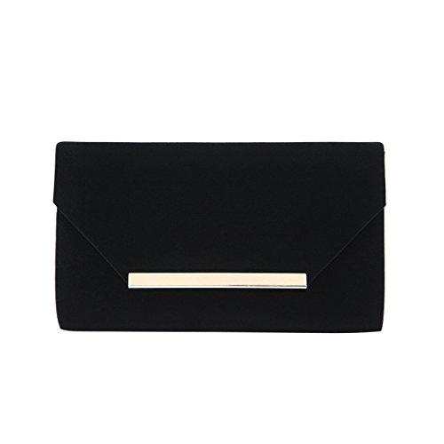 Elegant Solid Color Velvet Clutch Evening Bag Handbag, Black