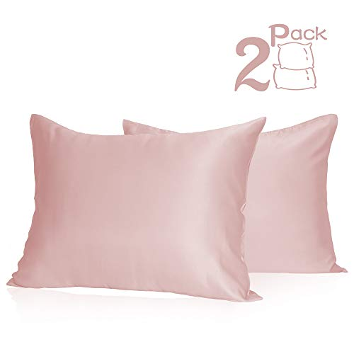 Muama Satin Pillowcases 2 Pack Silky Pillow Cases Covers for Hair and Skin Super Soft Luxury Pillowcases Set Anti-Wrinkle No Zipper with Envelope Closure (Pink, Standard 20''X26'') (Pillow Blush Shams)