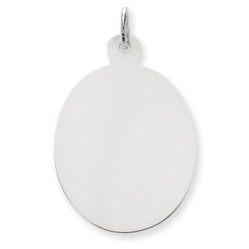 Icecarats Créatrice De Bijoux En Or 14K Blanc Ordinaire 0,018 Jauge Ovale Charme De Disque Gravable