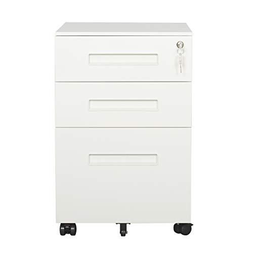 DEVAISE 3-Drawer Metal Mobile File Cabinet with Lock Keys (White & White)