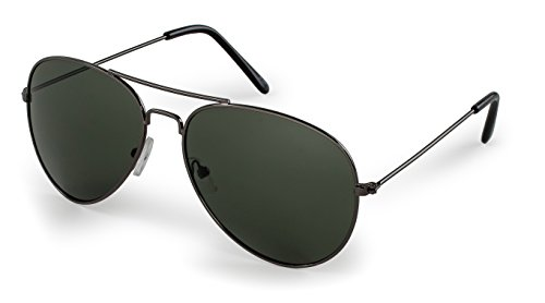 Stylle Aviator Sunglasses, Gunmetal Frame With G15 Lenses, 100% UV ()