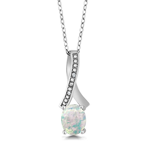 - Gem Stone King 1.04 Ct Oval Cabochon White Simulated Opal White Diamond 925 Silver Pendant