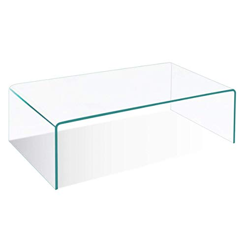Tangkula Coffee Table Waterfall Tempered Glass Rectangle Cocktail Tea Table Living Room Furniture with Rounded Edges ()