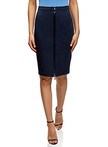 oodji Collection Femme Jupe Maille avec Zip en Avant Bleu (7900n)