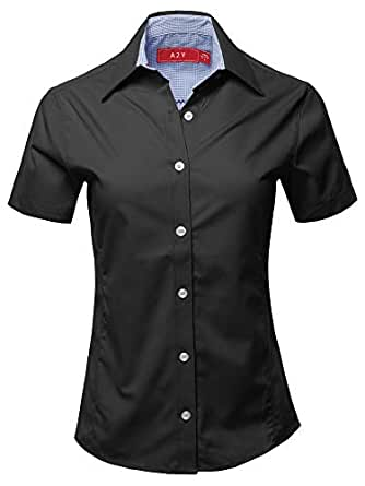 A2Y Women's Durable Short Sleeve Button Down Business Office Formal Ladies Shirt - Black - Small