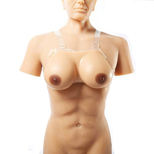 Silicone Breasts Form Artificial Fake Breast Booster Lifelike Fake Chest for Crossdresser, Cosplay Degenerative Mastectomy - Lingerie Brown Chest Maple