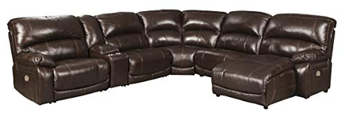 Ashley Furniture Design - U52402 Hallstrung Set Contemporary LAF Zero Wall Power Recliner, Console with Storage, Armless Recliner, Wedge, Armless Chair and RAF Press Back Power Chaise - Chocolate