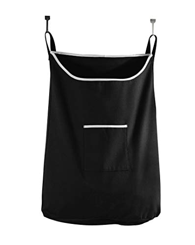 (Space Saving Door Hanging Laundry Hamper Bag in Black with Free Door Hooks - Open Top Design to Hold More Laundry Than Other Type Bags - Tested to be Strong and Durable - by The Fine Living Co USA)