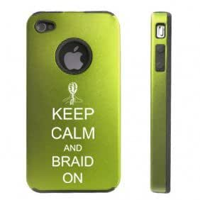Apple iPhone 4 4S 4 Green D3236 Aluminum & Silicone Case Cover Keep Calm and Braid On wangjiang maoyi