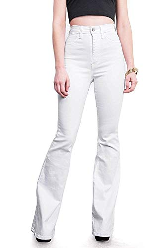 Women's Juniors Trendy High Waist Slim Denim Flare Jeans Bell Bottom Pants (2/4, White N)