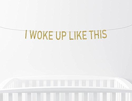 Avery Carey I Woke Up Like This Glitter Banner Nursery Decor Baby Sign Childrens Bedroom Home Decor Wall Art Baby Boy Girl Gold - Avery Banner Sign