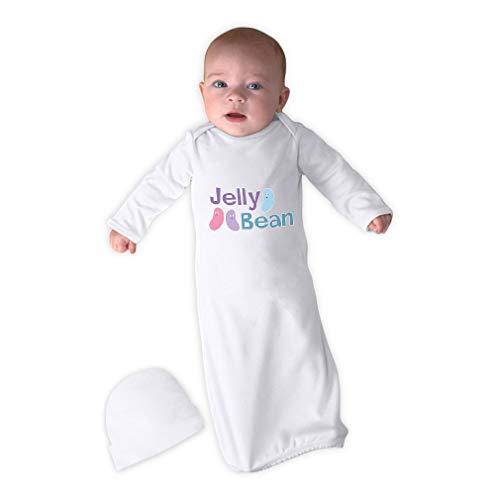 - Cute Rascals Jelly Bean Long Sleeve Envelope Neck Boys-Girls Cotton Newborn Sleeping Gown One Piece - White, Gown & Hat Set