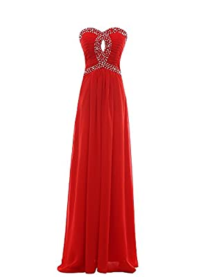 Women's Long Prom Dresses Beaded Chiffon A Line Sweetheart Evening Gowns