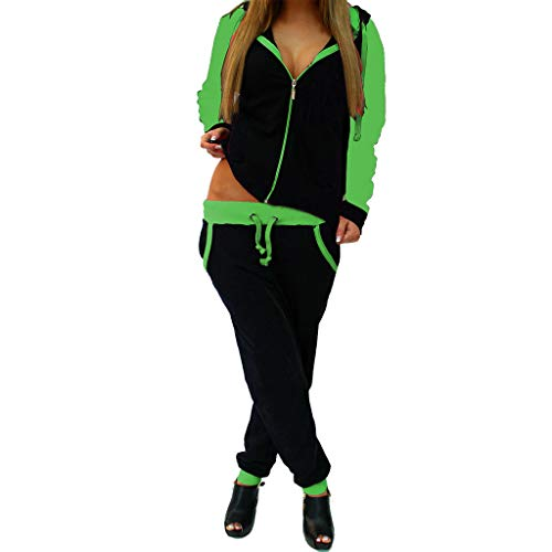 STORTO Women Casual Sweatshirt Hoodie + Sweatpants Two-Pieces Outfit Tracksuit Green