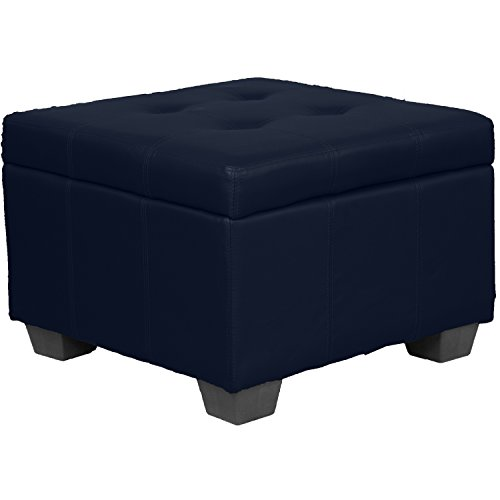 Tufted Padded Hinged Storage Ottoman Bench, Leather Look Navy ()