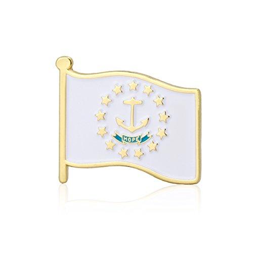 (GS-JJ Rhode Island Flag Enamel Lapel Pin (5 Pack))