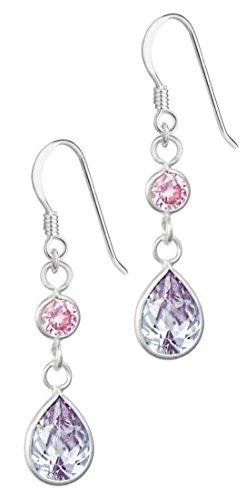 Lavender Tears (Hypoallergenic Sterling Silver Pink & Lavender Tear Drop CZ Dangle Earrings for Kids (Nickel Free))