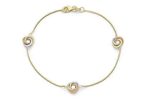 """3couleurs or 9carats Bracelet Chaîne Triple Noeud Boîte 19cm/7,5"""""""