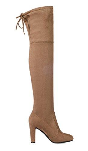... YE Damen Spitze Stretch Overknee Blockabsatz Stiefel Wildleder High  Heels Plateau Winter Boots mit Schnürung 9CM ...