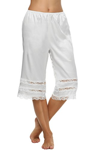 Goldenfox Lingerie Slips Satin Lace Half Slip Womens Snip-it Pettipant Pajamas (White, XL)