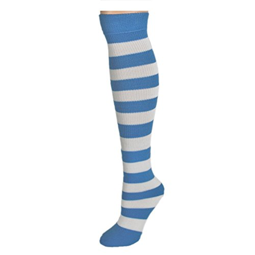 AJs Adult Long Classic Knee High Striped Socks - Baby Blue/White, Sock size 11-13, Shoe Size 5 and -