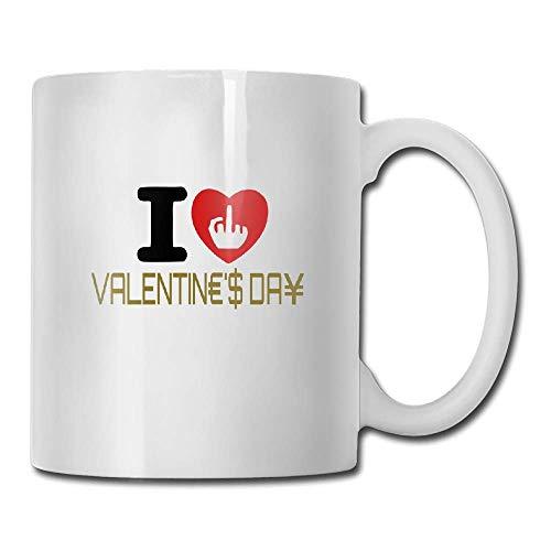 JTRVW Funny Coffee Mug 11 Oz White Ceramic Glossy Mug With Large C-handle,Custom I Hate Valentines Day Coffee Mug Gift for the Caffeine Lover
