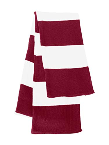 Sportsman Rugby Striped Knit Scarf (SP02) Available in 20 Color Combinations Cardinal-White