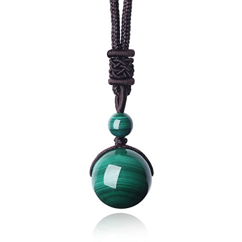 COAI Unisex Genuine Round Malachite Bead Reiki Healing Pendant Adjustable Cord 14mm
