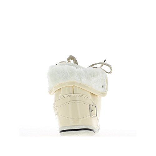 Baskets femme montantes beiges vernies