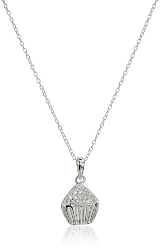 - Silver Celebrations Sterling Silver Cubic Zirconia Cupcake Pendant Necklace, 18