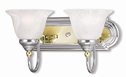 Livex Lighting 1002-52 Belmont 2-Light Bath Light, Chrome and Polished Brass
