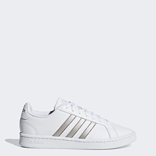 adidas Women's Grand Court Running Shoe, White/Platino Metallic/White, 9 M US