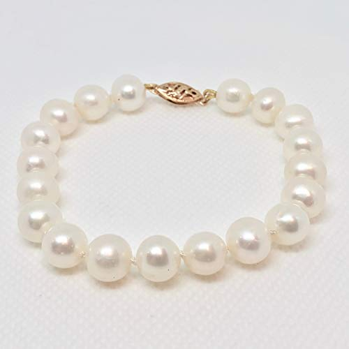 8.5 Mm White Pearl - 14K Yellow Gold 8.5mm White Near Round Freshwater Cultured Pearl Bracelet 7.5#402639