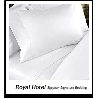 Abripedic Percale Sheets, 300-Thread-Count, 4PC Solid Sheet Set, 100% Egyptian Cotton, 22 Inch Super Deep Pocket, Queen, White