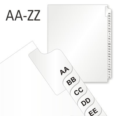 Letters AA-ZZ - 26 Alphabet Tabs (1, Legal Tabs 8.5