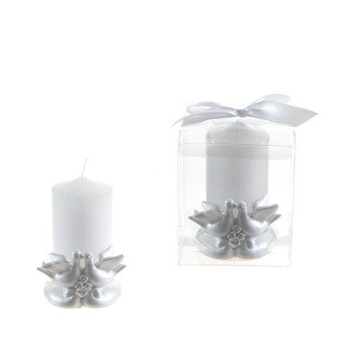 Lunaura Wedding Keepsake - Set of 12 Two Doves with Pearl Candle Set Favors - White (Wedding Keepsake Candle Favors)
