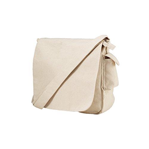 Oasis Classic Messenger Bag - Cotton Canvas Shoulder Bag for All-Purpose Use - Shoulder Crossbody Sling Working Bag Bookbag Briefcase Laptop - Natural