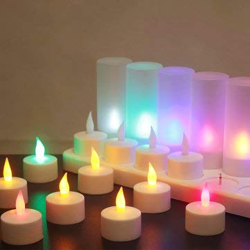 12PCS Rechargeable Colorful Flameless Flickering Tea Candle + Holder UK Plug AC220V - Holiday Lights Candle Lights - (UK plug)]()