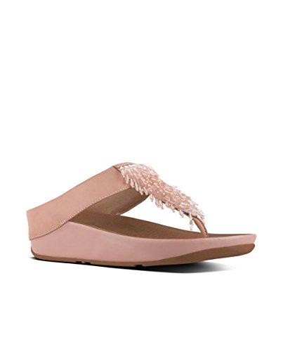 Fitflop Cha Cha Toe-Thong Sand-Crys - Sandalias de Mujer EN Color Negro Dusky Pink