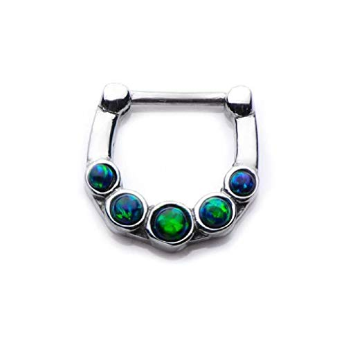 Pierced Owl Five Synthetic Opal Stone Septum Clicker in 316L Stainless Steel (Green)
