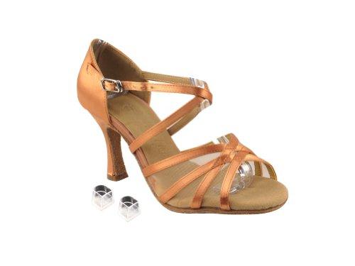 Dames Très Fines Dames Chaussures De Danse De Salon Eksa1605 Avec 2,5 Maille Tan Satin Et Chair Mesh