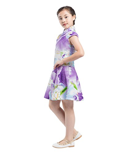Robe Qipao Chinois Party Filles Costume Akaayuko Cheongsam Violet Style Floral gqACxvT
